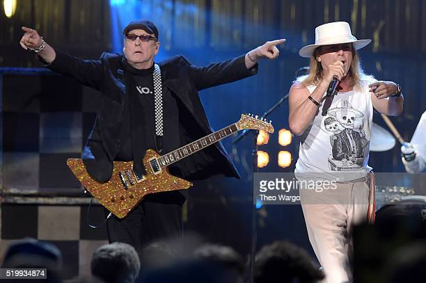 Inductee Rick Nielsen and Robin Zander of Cheap Trick perform onstage at the 31st Annual Rock And Roll Hall Of Fame Induction Ceremony at Barclays...