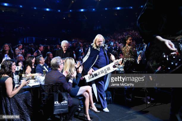 Inductee Rick Wakeman of Yes performs onstage at the 32nd Annual Rock Roll Hall Of Fame Induction Ceremony at Barclays Center on April 7 2017 in New...