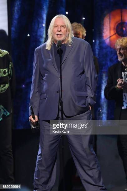 Inductee Rick Wakeman of Yes speaks onstage at the 32nd Annual Rock Roll Hall Of Fame Induction Ceremony at Barclays Center on April 7 2017 in New...