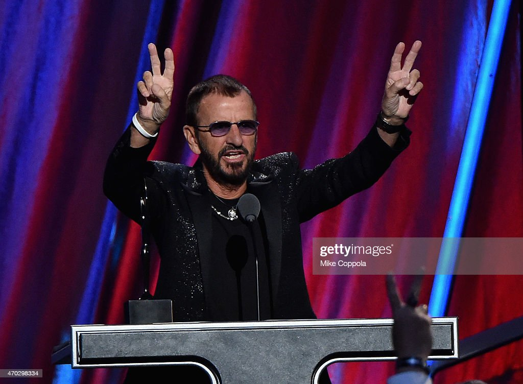 Inductee Ring Starr performs onstage during the 30th Annual Rock And Roll Hall Of Fame Induction Ceremony at Public Hall on April 18, 2015 in Cleveland, Ohio.