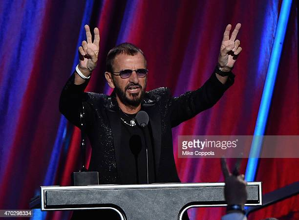 Inductee Ring Starr performs onstage during the 30th Annual Rock And Roll Hall Of Fame Induction Ceremony at Public Hall on April 18 2015 in...