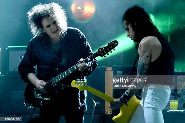 Inductee Robert Smith of The Cure performs at the 2019 Rock Roll Hall Of Fame Induction Ceremony Show at Barclays Center on March 29 2019 in New York...