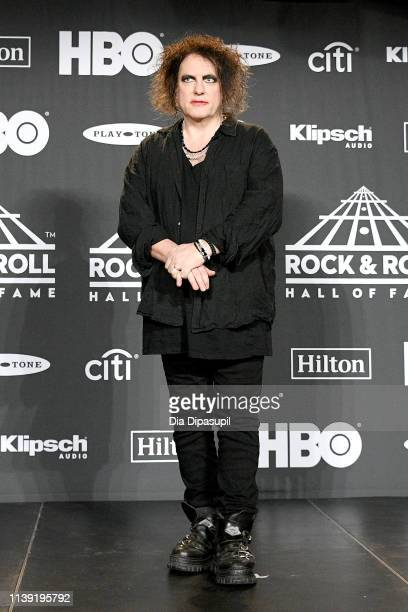 Inductee Robert Smith of The Cure poses in the press room during the 2019 Rock Roll Hall Of Fame Induction Ceremony Press Room at Barclays Center on...