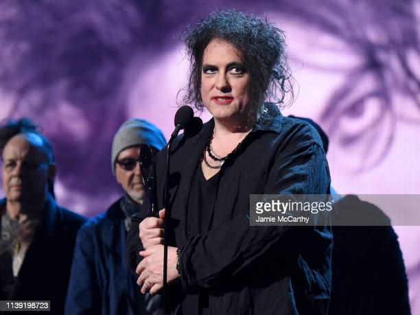 Inductee Robert Smith of The Cure speaks onstage at at the 2019 Rock Roll Hall Of Fame Induction Ceremony Show at Barclays Center on March 29 2019 in...