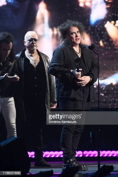 Inductee Robert Smith The Cure speaks onstage at the 2019 Rock Roll Hall Of Fame Induction Ceremony Show at Barclays Center on March 29 2019 in New...