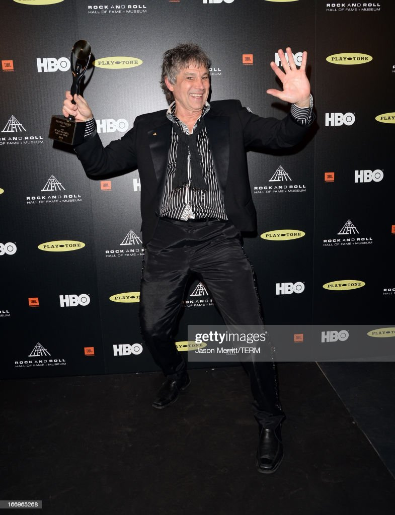 Inductee Roger Fisher of Heart poses in the press room at the 28th Annual Rock and Roll Hall of Fame Induction Ceremony at Nokia Theatre L.A. Live on April 18, 2013 in Los Angeles, California.