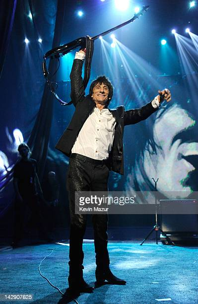 Inductee Ron Wood of Faces performs on stage at the 27th Annual Rock And Roll Hall Of Fame Induction Ceremony at Public Hall on April 14 2012 in...
