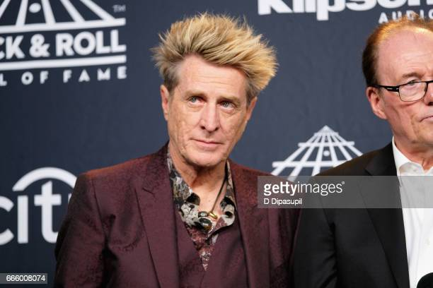 Inductee Ross Valory and Aynsley Dunbar of Journey attend the Press Room of the 32nd Annual Rock Roll Hall Of Fame Induction Ceremony at Barclays...