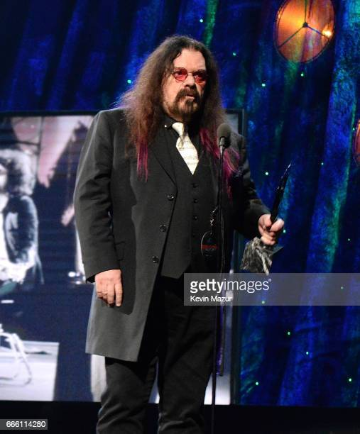 Inductee Roy Wood of ELO speaks onstage attend 32nd Annual Rock Roll Hall Of Fame Induction Ceremony at Barclays Center on April 7 2017 in New York...