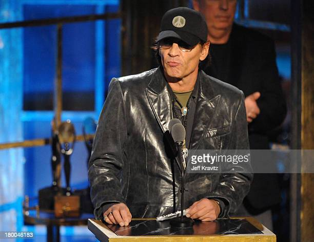 Inductee Scott Asheton of Iggy the Stooges speaks onstage at the 25th Annual Rock and Roll Hall of Fame Induction Ceremony at the Waldorf=Astoria on...