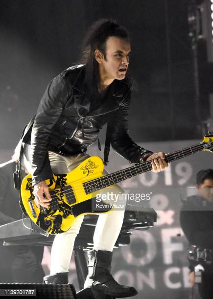Inductee Simon Gallup of The Cure performs at the 2019 Rock Roll Hall Of Fame Induction Ceremony Show at Barclays Center on March 29 2019 in New York...