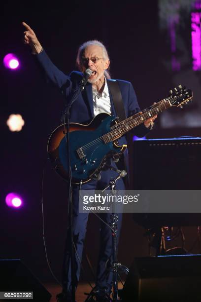 Inductee Steve Howe of Yes performs onstage at the 32nd Annual Rock & Roll Hall Of Fame Induction Ceremony at Barclays Center on April 7, 2017 in New...