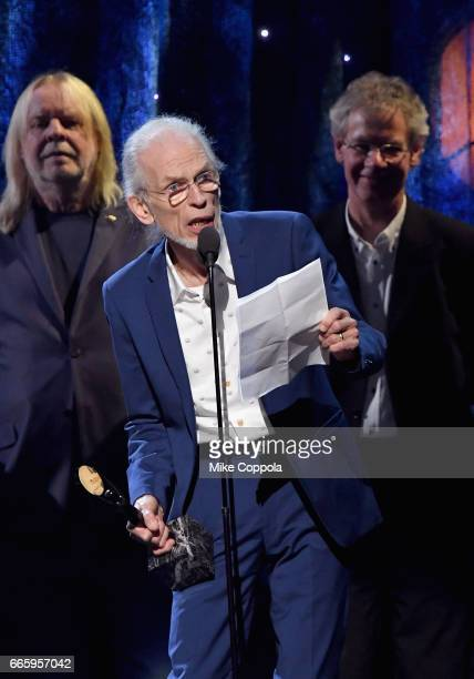 Inductee Steve Howe of Yes speaks onstage at the 32nd Annual Rock Roll Hall Of Fame Induction Ceremony at Barclays Center on April 7 2017 in New York...