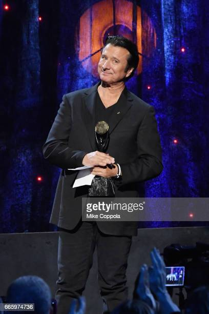 Inductee Steve Perry of Journey speaks onstage at the 32nd Annual Rock & Roll Hall Of Fame Induction Ceremony at Barclays Center on April 7, 2017 in...