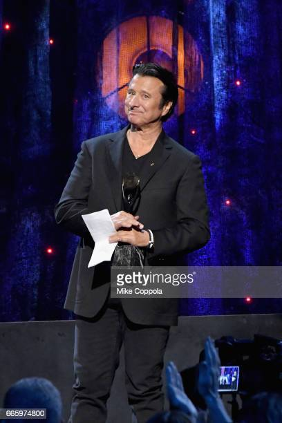 Inductee Steve Perry of Journey speaks onstage at the 32nd Annual Rock Roll Hall Of Fame Induction Ceremony at Barclays Center on April 7 2017 in New...