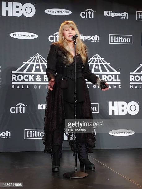 Inductee Stevie Nicks answers questions in the press room during the 2019 Rock & Roll Hall of Fame Induction Ceremony at Barclays Center on March 29,...