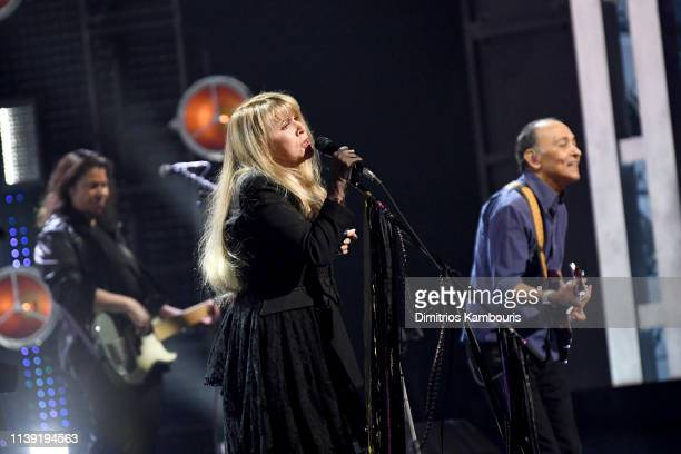 Inductee Stevie Nicks performs on stage at the 2019 Rock & Roll Hall Of Fame Induction Ceremony - Show at Barclays Center on March 29, 2019 in New...