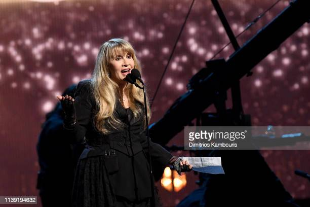Inductee Stevie Nicks performs onstage at the 2019 Rock & Roll Hall Of Fame Induction Ceremony - Show at Barclays Center on March 29, 2019 in New...