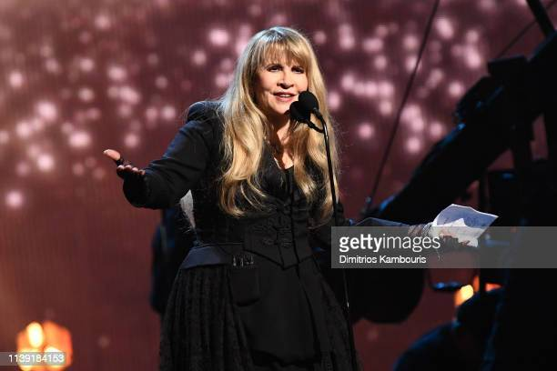 Inductee Stevie Nicks speaks onstage at the 2019 Rock & Roll Hall Of Fame Induction Ceremony - Show at Barclays Center on March 29, 2019 in New York...