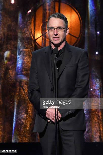 Inductee Stone Gossard of Pearl Jam speaks onstage at the 32nd Annual Rock Roll Hall Of Fame Induction Ceremony at Barclays Center on April 7 2017 in...