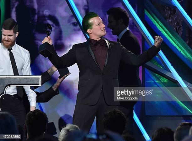 Inductee Tre Cool of Green Day poses onstage during the 30th Annual Rock And Roll Hall Of Fame Induction Ceremony at Public Hall on April 18 2015 in...