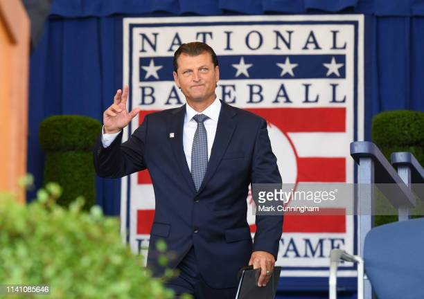 Inductee Trevor Hoffman is introduced during the Baseball Hall of Fame induction ceremony at the Clark Sports Center on July 29, 2018 in Cooperstown,...