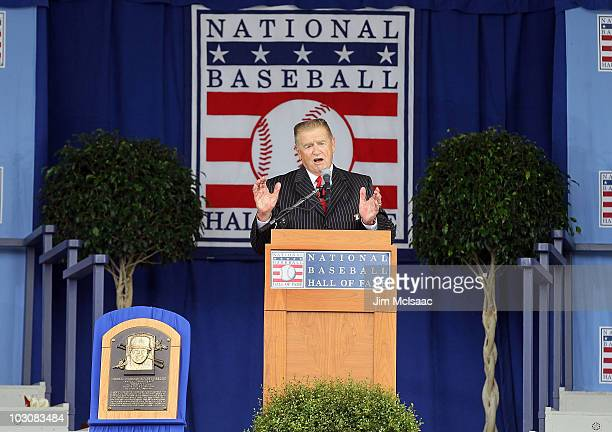 Inductee Whitey Herzog at Clark Sports Center gives his speech during the Baseball Hall of Fame induction ceremony on July 25, 20010 in Cooperstown,...