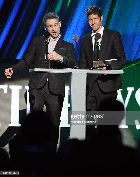 Inductees Adam Horovitz AKA ADROCK and Michael Diamond AKA Mike D of the Beastie Boys speak onstage during the 27th Annual Rock And Roll Hall of Fame...