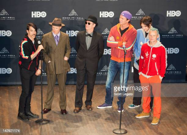 Inductees Anthony Kiedis Jack Irons Cliff Martinez Chad Smith Josh Klinghoffer Michael Balzary aka Flea pose in a pressroom duringInduction Ceremony...
