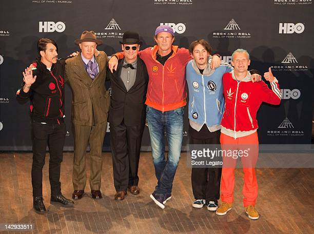 Inductees Anthony KiedisJack Irons Cliff Martinez Chad Smith Josh Klinghoffer and Michael Balzary aka Flea of the Red Hot Chili Peppers pose in a...