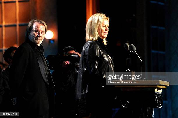 Inductees Benny Andersson and AnniFrid Princessan Reuss perform onstage at the 25th Annual Rock and Roll Hall of Fame Induction Ceremony at...