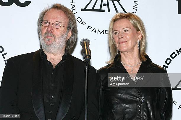 Inductees Benny Andersson and AnniFrid Prinsessan Reuss of ABBA attend the 25th Annual Rock and Roll Hall of Fame Induction Ceremony at...