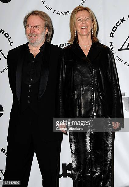 Inductees Benny Andersson and AnniFrid Prinsessan Reuss of ABBA attend the 25th Annual Rock And Roll Hall Of Fame Induction Ceremony at the...