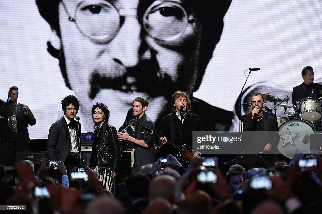 Inductees Billie Joe Armstrong of Green Day, Joan Jett and Ringo Starr perform with Nathan Reuss and Paul McCartney onstage during the 30th Annual Rock And Roll Hall Of Fame Induction Ceremony at Public Hall on April 18, 2015 in Cleveland, Ohio.