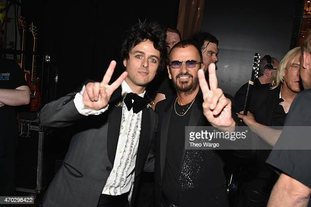 Inductees Billy Joe Armstrong of Green Day and Ringo Star attend the 30th Annual Rock And Roll Hall Of Fame Induction Ceremony at Public Hall on...