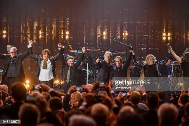 Inductees Bon Jovi perfrom during the 33rd Annual Rock Roll Hall of Fame Induction Ceremony at Public Auditorium on April 14 2018 in Cleveland Ohio