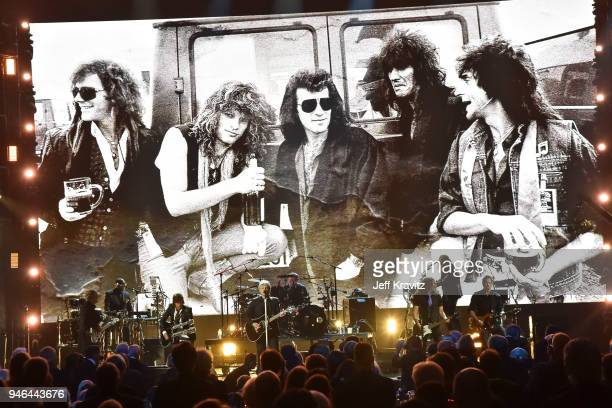 Inductees Bon Jovi perform during the 33rd Annual Rock & Roll Hall of Fame Induction Ceremony at Public Auditorium on April 14, 2018 in Cleveland,...