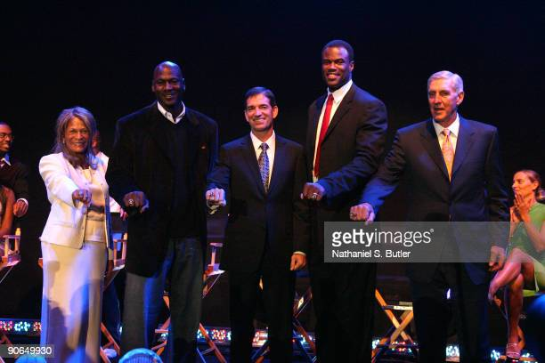 Inductees C Vivian Stringer Michael Jordan John Stockton David Robinson and Jerry Sloan are honored during the Basketball Hall of Fame Class of 2009...