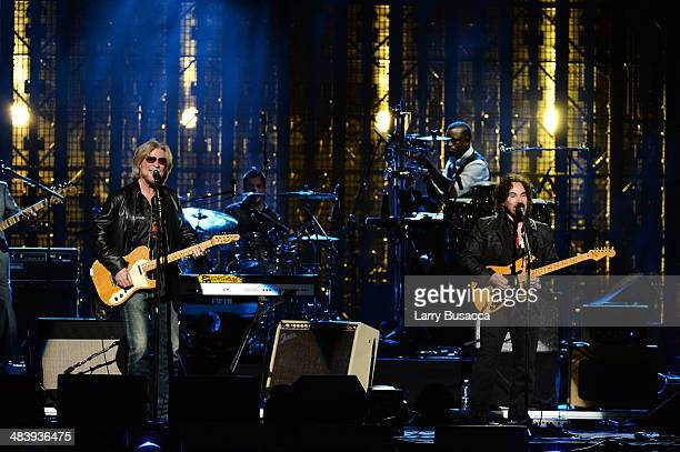 Inductees Daryl Hall and John Oates of Hall and Oates perform onstage at the 29th Annual Rock And Roll Hall Of Fame Induction Ceremony at Barclays...