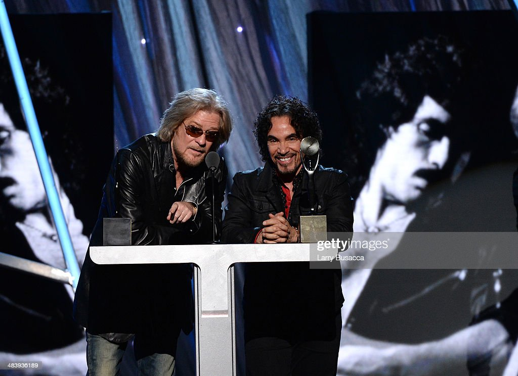 Inductees Daryl Hall (L) and John Oates of Hall and Oates speak onstage at the 29th Annual Rock And Roll Hall Of Fame Induction Ceremony at Barclays Center of Brooklyn on April 10, 2014 in New York City.