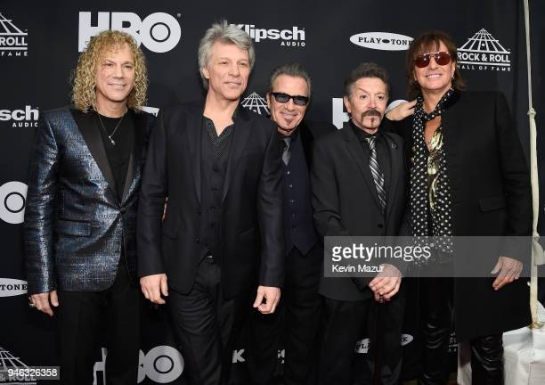 Inductees David Bryan Jon Bon Jovi Tico Torres Alec John Such and Richie Sambora of Bon Jovi attend the 33rd Annual Rock Roll Hall of Fame Induction...