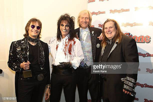 Inductees Dennis DunawayAlice CooperNeal Smithand Michael Bruce of The Alice Cooper Band pose at the 26th annual Rock and Roll Hall of Fame Induction...