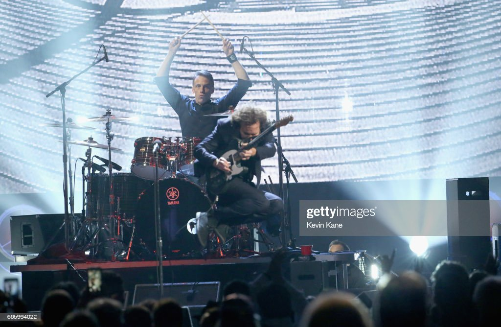 Inductees Eddie Vedder and Matt Cameron of Pearl Jam perform onstage at the 32nd Annual Rock & Roll Hall Of Fame Induction Ceremony at Barclays Center on April 7, 2017 in New York City. Debuting on HBO Saturday, April 29, 2017 at 8:00 pm ET/PT