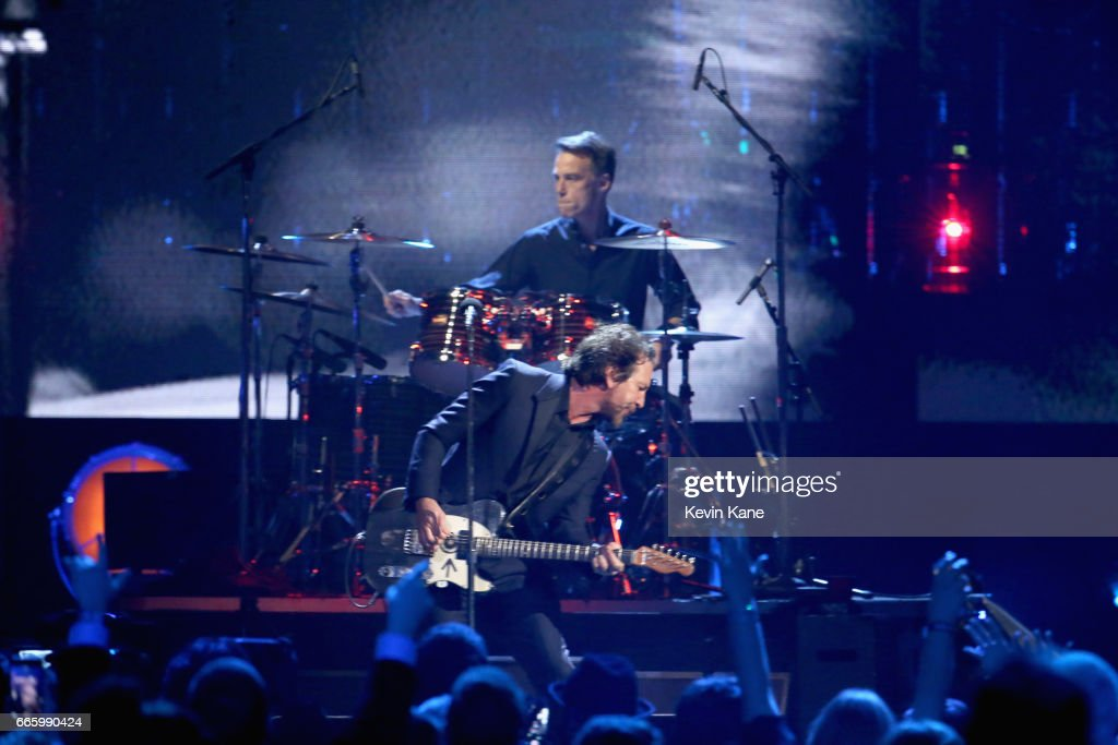 Inductees Eddie Vedder of Pearl Jam and Matt Cameron perform onstage at the 32nd Annual Rock & Roll Hall Of Fame Induction Ceremony at Barclays Center on April 7, 2017 in New York City. Debuting on HBO Saturday, April 29, 2017 at 8:00 pm ET/PT