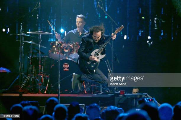 Inductees Eddie Vedder of Pearl Jam and Matt Cameron perform onstage at the 32nd Annual Rock Roll Hall Of Fame Induction Ceremony at Barclays Center...