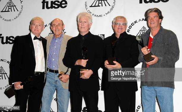 Inductees Eric Haydock Bernie Calvert Graham Nash Allan Clarke and Terry Sylvester of The Hollies attends the 25th Annual Rock And Roll Hall Of Fame...