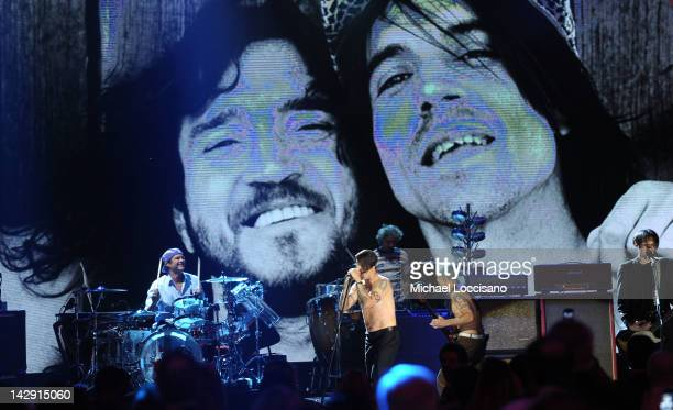 Inductees Flea Chad Smith Anthony Kiedis and Josh Klinghoffer of The Red Hot Chili Peppers perform onstage during the 27th Annual Rock And Roll Hall...