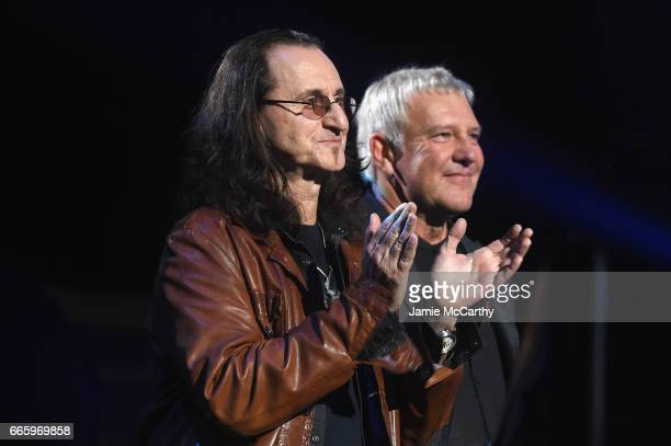 Inductees Geddy Lee and Alex Lifeson of RUSH onstage at the 32nd Annual Rock Roll Hall Of Fame Induction Ceremony at Barclays Center on April 7 2017...