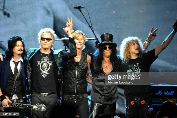 Inductees Gilbert Clarke Matt Sorum Duff McKagan Slash and Steven Adler of Guns N' Roses perform onstage during the 27th Annual Rock And Roll Hall of...