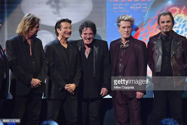 2017 Inductees Gregg Rolie Steve Perry Neal Schon Ross Valory and Jonathan Cain of Journey speak onstage at the 32nd Annual Rock Roll Hall Of Fame...